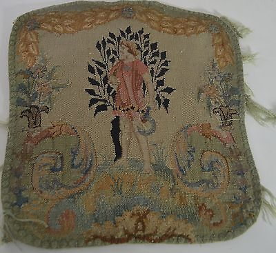 Gorgeous Antique French Hand Woven Figural Tapestry Piece Ss25