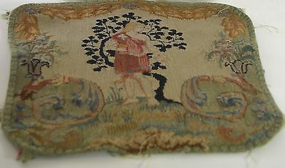Gorgeous Antique French Hand Woven Figural Tapestry Piece Ss26