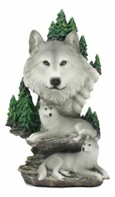 "Mountain Scenery Alpha Wolf Bust And Family Pack On Rocks 13""H Figurine Statue"