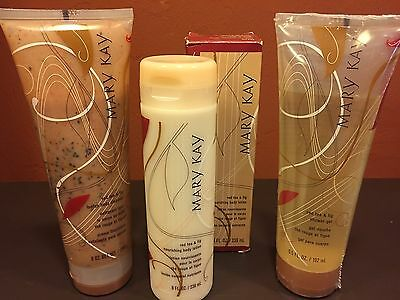 Mary Kay Red Tea & Fig Lot-Shower Gel,Loofah Body Cleanser, & Nourishing Lotion