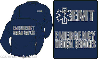 EMT EMS LONG SLEEVE T-SHIRT with REFLECTIVE IMPRINT EMERGENCY MEDICAL SERVICES