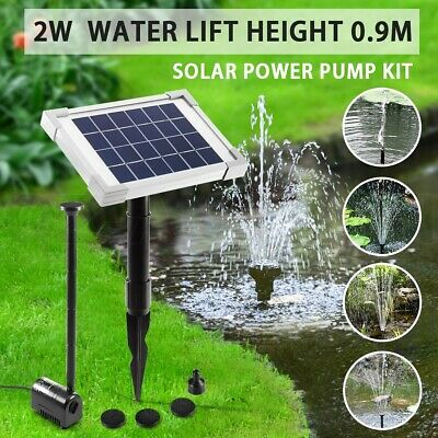 2W Solar Power Fountain Water Pump Kit Outdoor Garden Pond Pool Submersible