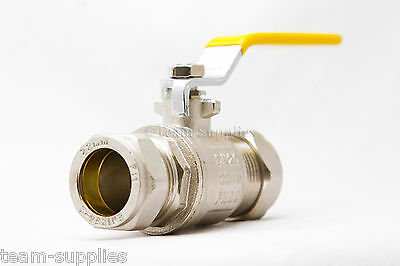 GAS YELLOW LEVER BALL VALVE 22mm COMPRESSION ISOALTION VALVE
