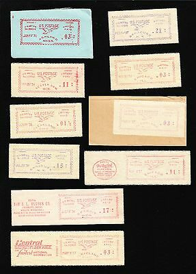 US FLYING EAGLE 1930s METER MAIL MINI COLLECTION Stamps Impressions & 1 Cover A8