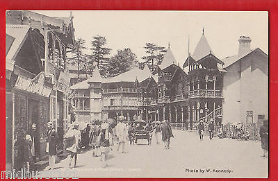 India, Simla, Himalayan, Bank buildings & post office.  Postcard