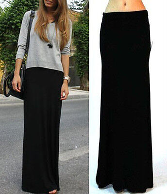 Vivicastle Black Fold Over Waist Banded Jersey Knit Long Maxi Skirt S M L Xl