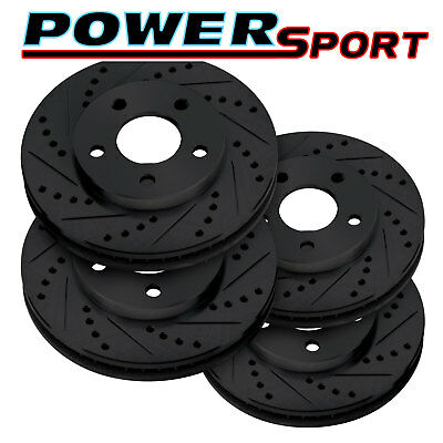 Brake Rotors [2 Front + 2 Rear]POWERSPORT BLACK *DRILLED & SLOTTED* DISC BN11536
