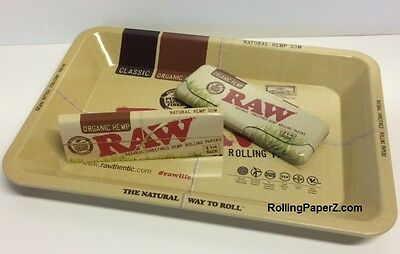 RAW Organic Hemp 1 1/4 size Rolling Papers + Pack Carrying Case + 5x7 MINI TRAY