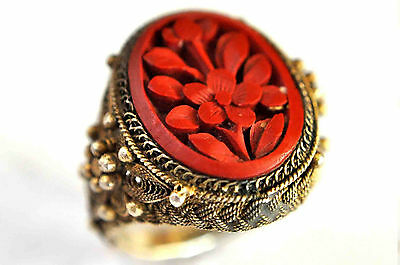 Antique Large Chinese Solid Silver and Cinnabar Filigree Floral Ring