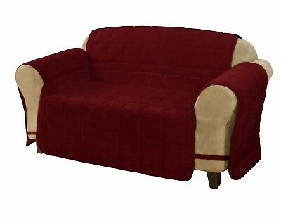 Micro Suede Quilted Pet Furniture Protector Loveseat Slipcover w/Ties, Burgundy