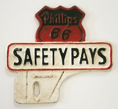 Reproduced Cast Iron    Phillips 66 license plate topper    for Show or Street