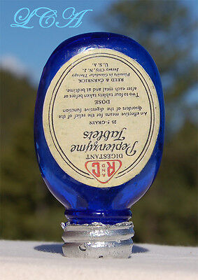 Tiny OVAL flask shaped DEEP BLUE antique PILL bottle PEPTENZYME