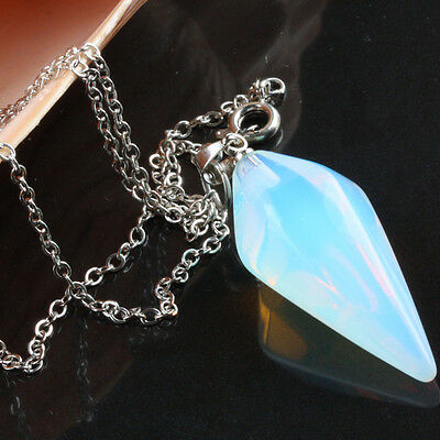 Faceted Opal Opalite Gemstone Point Stone Dowsing Healing Reiki Pendulum Chain