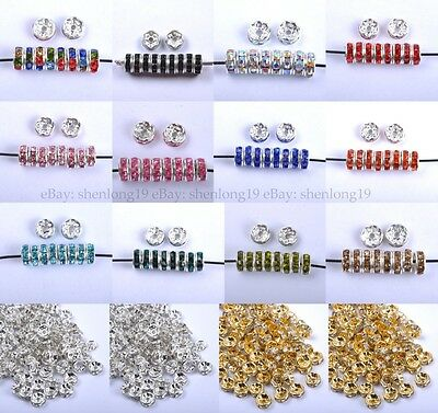 30pcs Czech Crystal Rhinestone Silver Rondelle Spacer Beads 4MM 6MM 8MM 10MM
