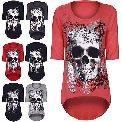 Womens Ladies Skull Butterfly 3/4 Sleeve Dip Hem Hi Lo Tunic Dress Top Plus Size