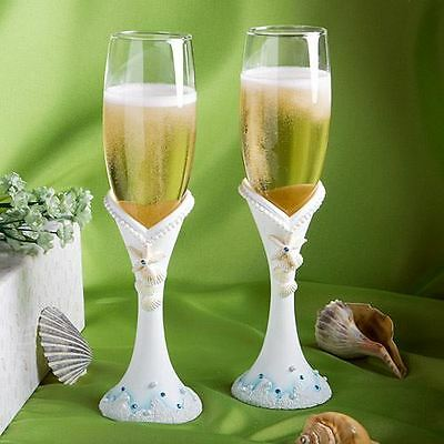 Pair of Beach Themed Toasting Wedding Party Wine Champagne Flutes Glasses