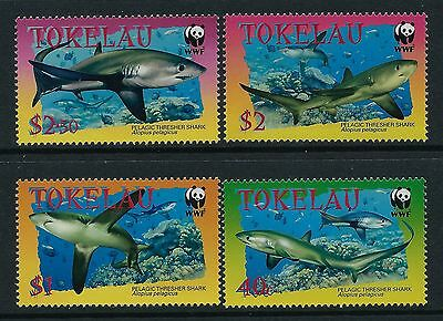 2002 Tokelau Wwf Pelagic Thresher Sharks Set Of 4 Fine Mint Mnh/muh