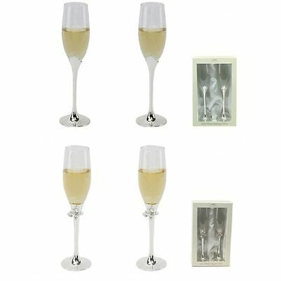 Pair of Diamante or Butterfly Toasting Wedding Party Champagne Flutes Glasses