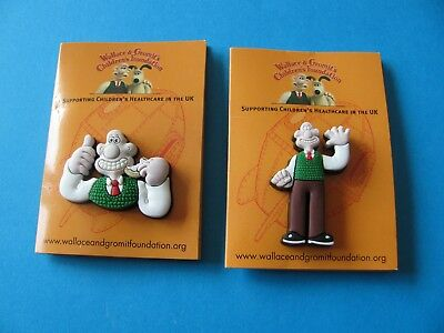 Wallace & Gromit Rubber Pin Badge. VGC. Unused on Card. Charity. (A)