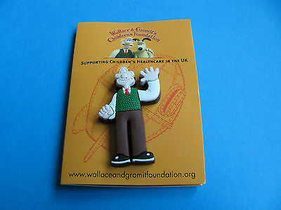 Wallace & Gromit Rubber Pin Badge. VGC. Unused on Card. Charity. (E)
