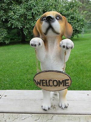 Beagle Dog Resin Welcome Sign Standing Garden Home Decor New Puppy Pet Gift New