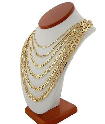 """Mens Mariner Gucci link Chain 14k Gold Plated 3.25mm to 9.25mm wide 20"""" 24"""" 30"""""""