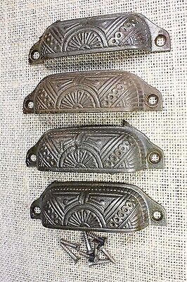 "4 Bin Pulls drawer handles cup old antique cast iron 4"" vintage screws fan"
