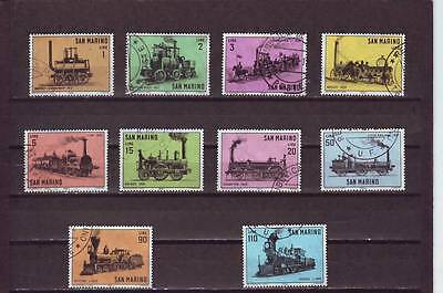 San Marino - Sg755-764 Used 1964 Story Of The Locomotive - Full Set