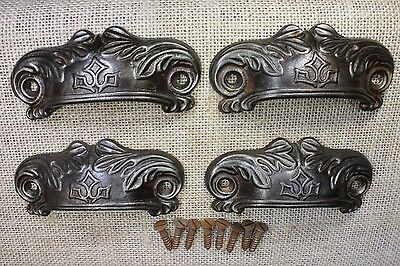"4 old Bin Drawer Pulls door handles 4"" rustic cast iron  vintage screws fern"
