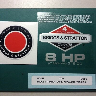 Briggs & Stratton 8-hp Sticker Decal Set 1978-1980 W/ Easy Spin Troy-Bilt Horse