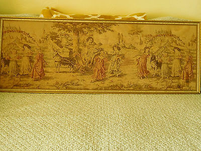 "Antique Large Framed Tapestry in  Renaissance Period Dress ~52"" x 19""~ FRENCH?"