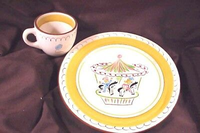 Stangl Pottery Kiddie Ware, Gold  Band Carousel Cup And Plate, Mint Condition