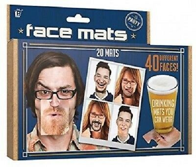 20 Double Sided Party Face Mats Drinks/Beer Face Coaster Novelty Fun Gift Idea
