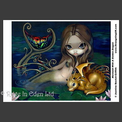 *MERMAID WITH A GOLDEN DRAGON* Fantasy A4 Photo Print By Jasmine Becket-Griffith