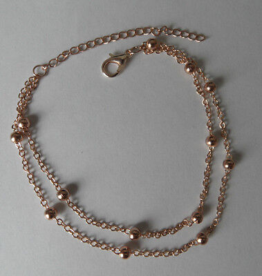 Anklet Bracelet Golden Double Chain With Small Balls