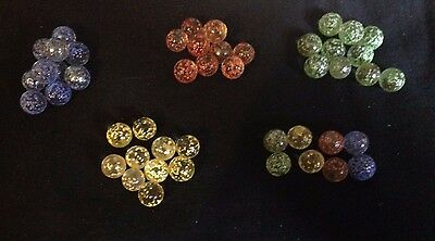 10 x 10mm Small Peewee rainbow sprinkle Glass Marbles Collectors  pick color