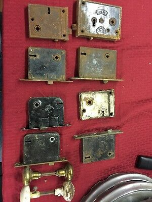 VINTAGE-OLD-ANTIQUE-FULL MORTISE BIT (SKELTON) KEY DOOR LOCK X8 Plus 2 Handles