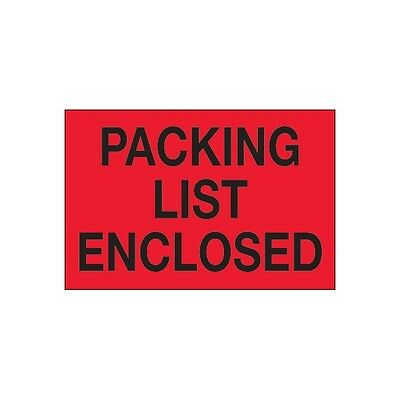 """""""Tape Logic Labels, """"""""Packing List Enclosed"""""""", 2""""""""x3"""""""", Red, 500/Roll, DL1202"""""""