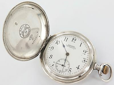 RARE c1911 LONGINES 14S / 16S .900 SILVER POCKET WATCH, WORKING.