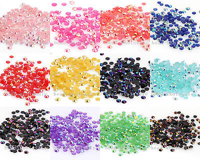 2000pcs AB Color Half Round Crystal  Rhinestone Flatback Beads 3mm