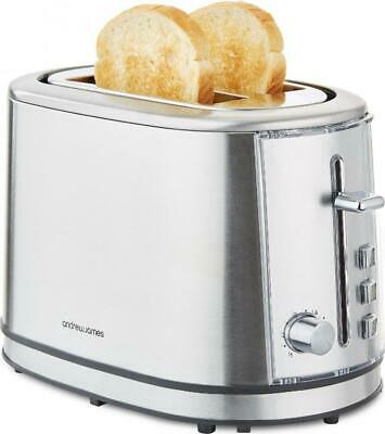 Andrew James Argentum 2 Slice Toaster With Warming Rack & Browning Control 850W
