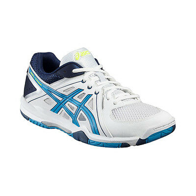 Asics Gel-Task Men's Indoor Court Shoes – White/Blue Jewel/Safety Yellow