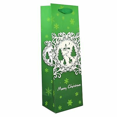3 x Christmas Bottle Bags Present Wine Gift Green Decorative Glitter Paper