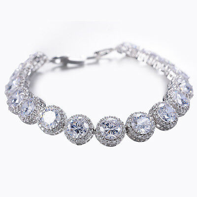 Silver Round Cut White Sapphire Bridal Tennis Bracelet White Gold Filled Jewelry