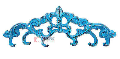 Small Turquoise Fleur De Lis Key Holder with 6 Hooks Cast Iron Wall Mounted