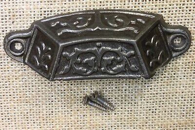 "old Bin Drawer Pull vintage handle rustic ferns leaves 3 7/8""  restored finish"