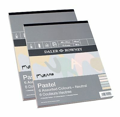 """Daler Rowney Murano Pastel Paper Pad 6 Neutral Colours 12 x 9"""" 30 Sheets Ivory"""