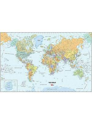 WORLD MAP WALLPOPS LAMINATED DRY ERASE WITH PEN KIDS NEW (24in x 36in)