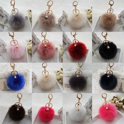 Handbag Charm Key Ring Rabbit Fur Ball PomPom Cell Phone Car Keychain