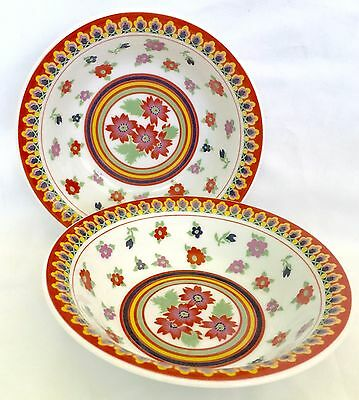 """2 Vintage Heinrich GYPSY Coupe Cereal Bowls, 1970's Bright Colors/Flowers, 6.25"""""""